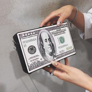 Chic-Dollar-Druck Box Frauen Schultertasche Ketten Crossbody Beutel PU-Leder-kleine quadratische Geldbeutel-Damen-Handtasche