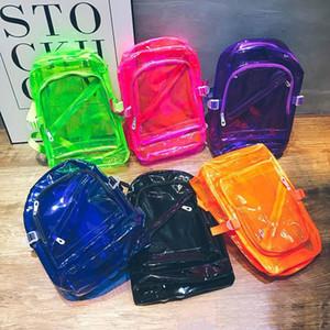 Stile di modo di viaggio portatile per il tempo libero di colore della caramella Trasparente Jelly PVC zaino spiaggia impermeabile trasparente borse a tracolla zaino