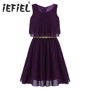 Iefiel 여름 꽃 소녀 드레스 어린이 결혼식 파티 공주 드레스 여자 옷 공식적인시 폰 무릎 길이 드레스 Y19061501