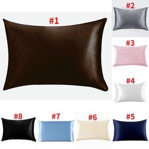Silk Satin Pillowcase Home Smooth Ice Silk Pillow Case Zipper Pillow Cover Bedroom Cushion Cover DDA29
