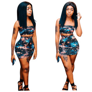 Camo Print Women Casual Two Piece Set Dress Sexy Strapless Tube Crop Top + Bodycon Mini Skirt Club Party Outfits Vestido