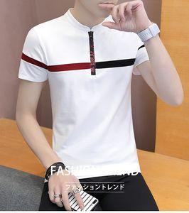 Mens Designer magliette della banda della stampa a maniche corte con scollo a V T Moda Zipper Abbigliamento Uomo parti superiori casuali