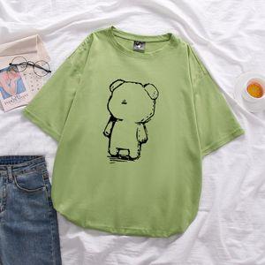 Bear print 2020 women's cotton large size loose short-sleeved T-shirt unisex mid-length Tops soft summer T-shirt