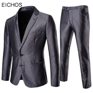 2019 Hommes gris Costume Blazer Pantalon d'affaires formelles Slim Fit 2 Piece Suit Set pour le mariage Groom belle fête Tuxedo Homme