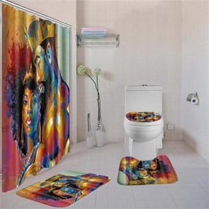 4 Pcs / Set WC Pad Tampa Bath Rug Mat Fabric Shower Curtain Set para banheiro A mulher americana Africano Shower Curtain Härligt duschdraperi