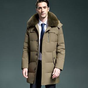 Nuovo 2020 piumino inverno lungo cappotto degli uomini collo di pelliccia degli uomini di spessore Puffer Giacche Parka Doudoune Hiver Homme KJ1026 s