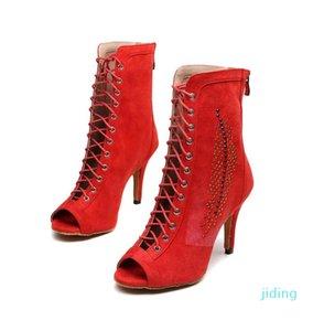 Hot Sale-feminina de couro dança latina sapatos botas longas salto alto sapatos de dança de Botas dança mediana Raparigas Ballroom Tango latino