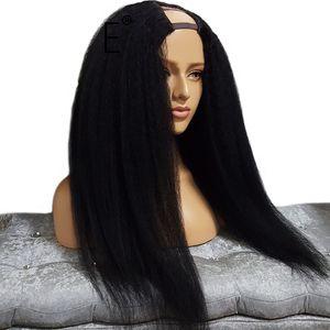 Yaki Hetero U Parte Perucas Humano Virgin Cabelo peruana Upart Perucas Glueless Luz Yaki Hetero U Parte perucas para mulheres negras