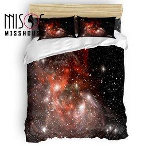 MISSHOUSE Red Galaxy Space Duvet Cover Set Lençóis Capa Consolador Fronhas 4 pcs Conjuntos de Cama