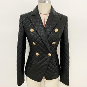 1107 2019 Livraison gratuite Automne Manteau cou PU Lapel Vêtements pour femmes Robe Taille Plus Bouton à manches longues OULAIDI