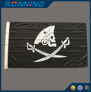 Pirate Flag Banner 3x5 Ft High Quality Skull Pirate with Two Cross Knife Flags 90x150 cm for Home Or Boat Decoration, free shipping
