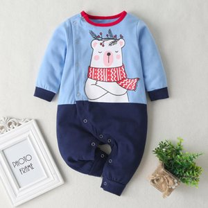Leisure Winter Cotton Playsuit Baby Boys Girls Long Sleeve Cartoon Bear Printing O-Neck Infant Splicing Warm Fleece Romper