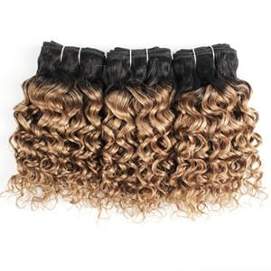 Acqua brasiliana capelli ricci capelli dell'onda Bundles 1B 27 Ombre Blonde di miele 10 12 14 Capelli pollici 3 pacchi umani di Remy estensioni all'ingrosso