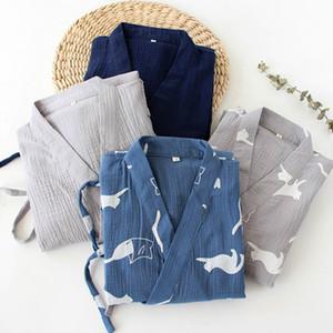 Erkekler Çinli Japon Elbiseler kıyafeti Sleepwear Bornoz Pamuk Elbise Retro Lacivert Gri renkli Robe 914-A739