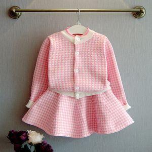 Baby Girls Sweater Set Fashion Autumn Winter Girls Outfits baby girl clothes toddler girl clothes Cardigan+skirts 2pcs Set Clothing 2 Colors