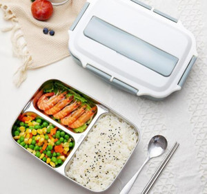 Bento Lunch Box Stainless Steel Plastic 1200ml Lunch Lattice boxes Kitchen Food Container For Kids Heated Lunch Case GGA3226-1