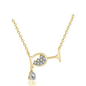 Frauen Halskette neue Wasser-Tropfen Wein-Glas-Halskette Modische Einfache glänzende Zircon Cup Anhänger für Frauen-Partei-Geschenk