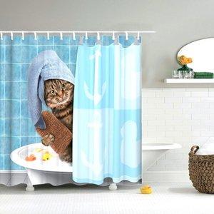 Dafield 욕실 커튼 동물 재미 용감한 곰에 상어 샤워 커튼 세척 패브릭 욕실 장식 샤워 커튼 곰 T200817