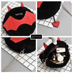 Designer-Crazy2019 Funny Small Bag Female Pop Halloween Little Devil Cute Round Bag Plush Chain Shoulder Messenger Bag Tide Free Shipping