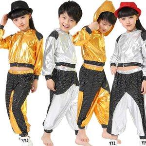 Filles Garçons Or Argent Ballroom Jazz Hip Hop Concours de danse Costume Kid Vêtements Vêtements Hoodie Shirt Top Pantalon de danse Porter