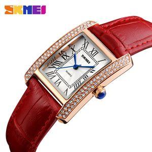 SKMEI Женщины кварцевые часы кожаный ремешок ретро Мода Повседневная дамы часы Водонепроницаемые Женский Наручные часы Relogio Feminino 1281