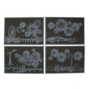 Kartlar 2sw0808 Tebrik Renkli Çizilmeye Kağıt Gece Görünüm Havai Fişek DIY Çizim Kazıma Tablolar Kartpostal Yıldönümü