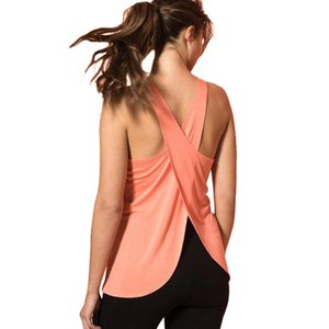Women Casual Cross Back Yoga Shirt Sleeveless Workout Sports Vest Top Solid Vest HB88