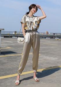 Basılı champage renk üst ve pantolon takım elbise moda yaz kadın giyim seti gibi Tasarımcı kadın iki parçalı pantolon Setleri saten ipek