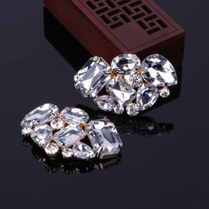 KLV 1 Couple Cargo free lady color flower shoe buckle Strass crystal decorations clips shoe charms accessories