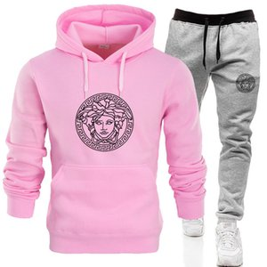 2019 chegar: de Mulheres Suit camisola Carta Sports Pullover Mulheres Hoodie Set Treino Casual Jogging camisola + Pant Two Pieces