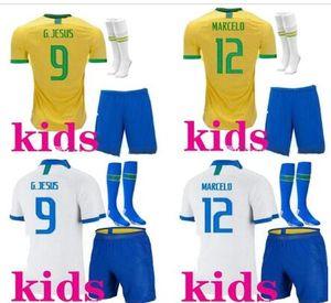 Maillot de pé Enfant crianças 2019 patch de 2020 o Brasil Camiseta Equipe Brasil calções miúdos do futebol meias kit Bresil Soccer Jersey 19/20