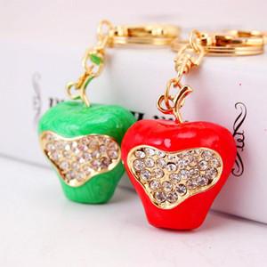 Yapay elmas Anahtarlık Kırmızı Yeşil Emaye Elma 3D Meyve Takı Anahtarlık Kadınlar Anahtar Tutucu Halka Araç Çantası kolye