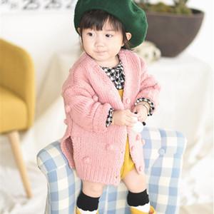 Nouveau-né enfants décontractés manteaux en tricot tops bébés filles manches longues automne hiver chauds solides boutons chandails arrivés beaux vêtements