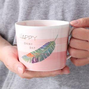 Hand Drawn tazza di caffè in ceramica Handle Ufficio Prima colazione Latte Tumblers regalo di nozze Foglia Coppe di alta qualità della miscela di colore 9mj A1