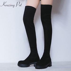 krazing saksı 2020 inek derisi oryantal tasarımı kalın dip med topuklar ince bacak yuvarlak ayak tutmak sıcak streç aşırı diz çizmeler L06