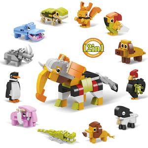 12 in 1 Animal Kingdom Building Block Set Elephant Lion Crocodile Penguin Educational toy for Children DIY Gift
