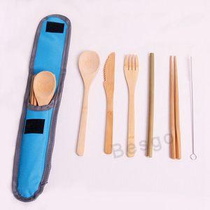 6шт / комплект Экологичного Bamboo Flatware Столовых приборы Набор портативного Bamboo посуда Набор мешковина нож Вилка Ложка Палочка солома DBC BH2785