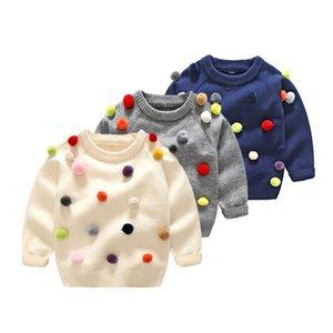 Ropa de bebé niños niños niñas niños suéteres otoño invierno moda pompón Algodón de punto Cashmere suéteres ropa de niña