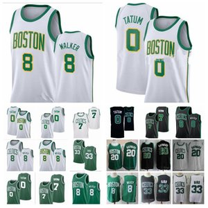 Hot Bostonn Celticss Roster Jayson Tatum 0 Free Shipping Jaylen Brown 7 Kemba Walker 8 Gordon Hayward 20 Larry Bird 33 Basketball Jerseys