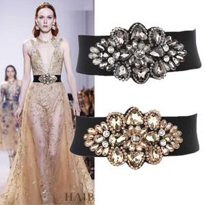 Nova moda de luxo designer vestido feminino mulher elástica larga cinto cintilante cristal de diamante flor de 70cm 3 cores