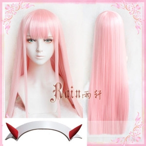 ePacket free shipping >DARLING in the FRANXX ZERO TWO Pink 100cm Long Hair Wig