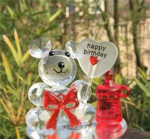 Ducha de cristal artificial bebé favores de la boda portátil pequeño oso de dibujos animados ilustraciones ornamento delicado regalo Pequeños Animales de la venta caliente 5 75zyE1