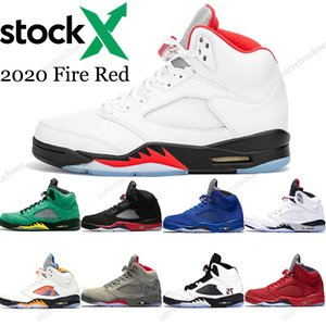 Stock X de haute qualité Jumpman 5 2020 Basketball Fire Red Shoes Green Island Inspire hommes Bred 5 sports PSG Noir JO Sneakers