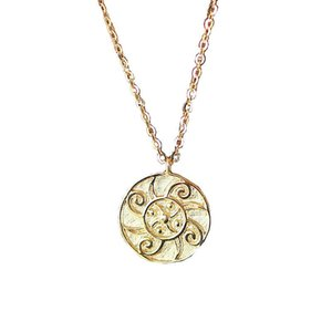 Factory Original Design 18K Yellow Solid Gold Sunflower Chinese style clavicle chain pendant artistic style necklace China Wholesale