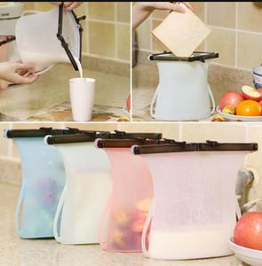 Borse 1000ml freschi silicone pieghevole riutilizzabile Frigo Milk LJJK1168N carne della frutta fresca del sacchetto di sigillamento del silicone alimentare Storage Bag
