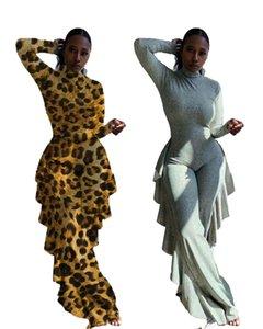 Seksi Yüksek Boyun Ruffles Kadınlar Tulumlar tulum Moda Leopard Baskı Uzun Kollu Skinny Nightclub Tulumlar Parti Kıyafetler Sonbahar
