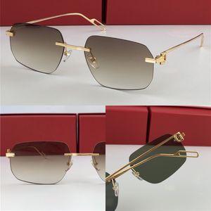 Mejores ventas de gafas de sol al por mayor 0113 ultraligero irregulares sin marco retro vanguardista diseño de la luz UV400 lentes de colores gafas decorativa