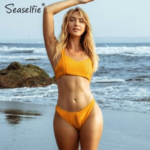 SEASELFIE Sexy Solid Yellow Wide Straps Bikini Sets High-cut Padded Swimsuit Two Pieces Swimwear Women 2020 Beach Bathing Suit