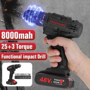 Electric Drill  Impact Drill 48V Cordless Combi 2 Speed Rechargeable Functional Driver Battery with 10Pcs Bits