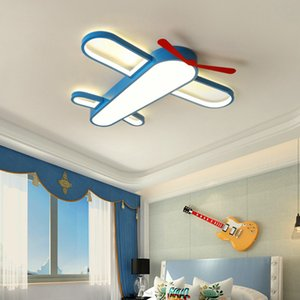 Children's room LED ceiling lamp Warm cartoon airplane bedroom boys and girls room lamps eye protection dimming wrought iron lamps